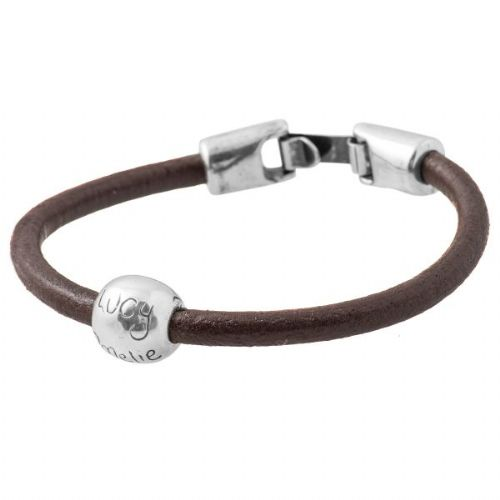 Leather Personalised Round Silver Bead Bracelet